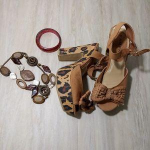 Rampage Brown Leopard Platform Sandals Shoes sz 7